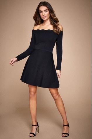 Lipsy Long Sleeve Bardot Fit And Flare Dress