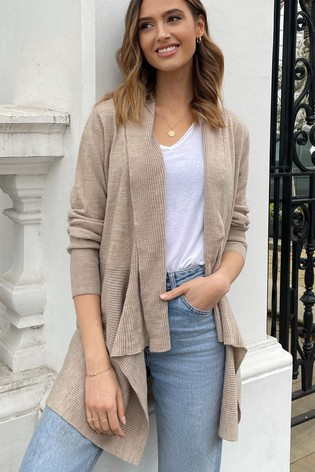 Lipsy Neutral Knitted Waterfall Cardigan