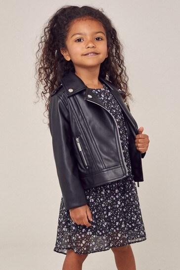 Lipsy Black Mini PU Biker Jacket