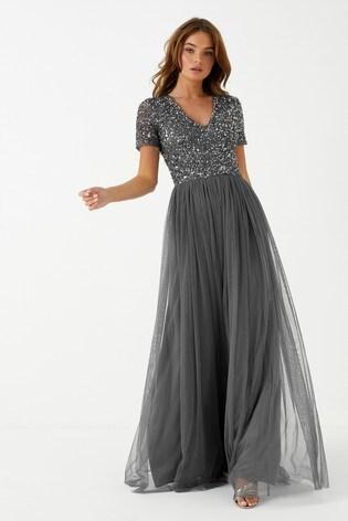 Maya Charcoal V neck Short Sleeve Sequin Maxi Dress