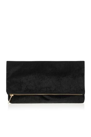 Lipsy Black Velvet Foldover Clutch