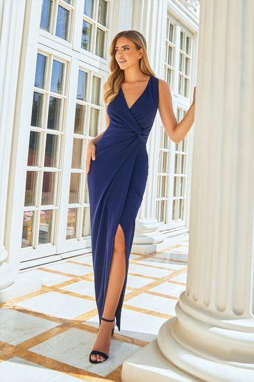 Sistaglam Loves Jessica Wright Navy Wrap Knot Maxi Dress