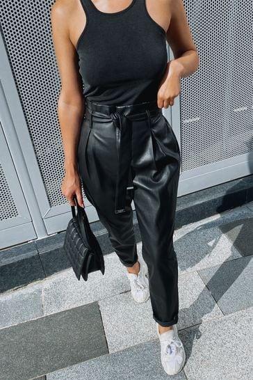 Lipsy Black Regular Faux Leather Paper Bag Trouser