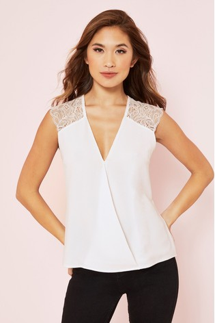 Lipsy White Lace Cap Sleeve Top