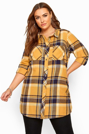 Yours Curve Check Studded Boyfriend Shirt