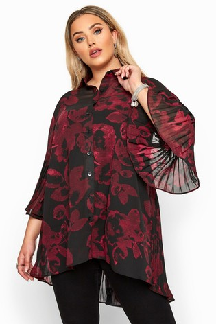 Yours London Curve Floral Pleat Back Shirt
