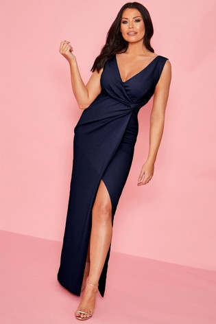 Sistaglam loves Jessica Blue Petite Ruched Wrap Maxi Dress