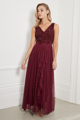 Sistaglam Burgundy V neck Maxi Dress With Sequin Top