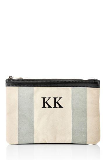 Personalised Stripe Monogram Canvas Clutch Bag By HA Designs