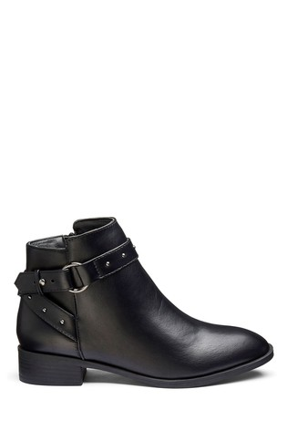 Simply Be Black Extra Wide Fit Buckle Detail Boots
