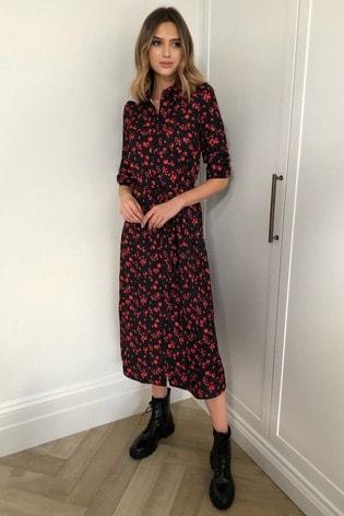 Lipsy Floral Print Midi Shirt Dress