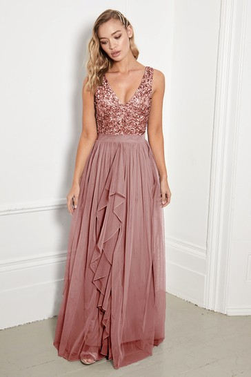 Sistaglam Rose Gold V neck Maxi Dress With Sequin Top