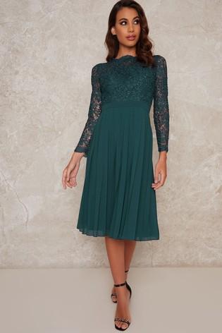 Chi Chi London Blue Mercer Pleated Midi Dress