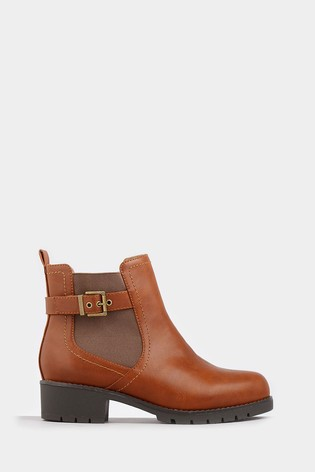 Yours Tan Extra Wide Fit Elastic Strap And Buckle Ankle Boot