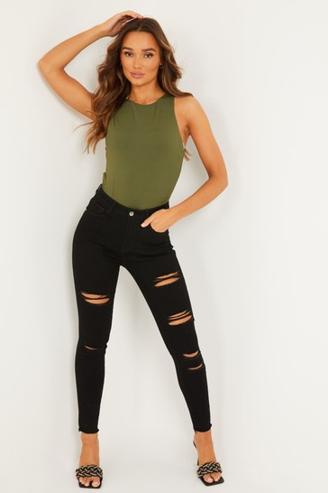 Quiz Black Ripped Skinny Jeans
