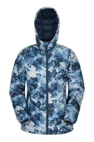 Mountain Warehouse Blue & White Print Seasons Womens Padded Jacket