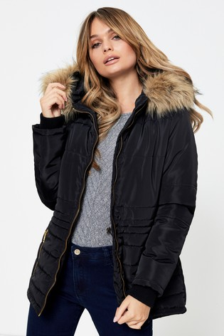 Boohoo Faux Fur Hood Padded Coat