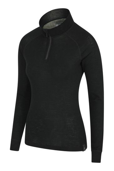 Mountain Warehouse Black Merino Womens Long Sleeved Zip Neck Top