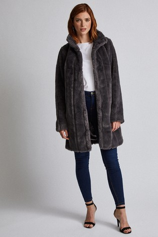 Dorothy Perkins Tall Longline Pelted Faux Fur Coat