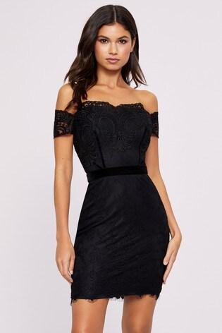 Lipsy Artwork Bardot Lace Dress
