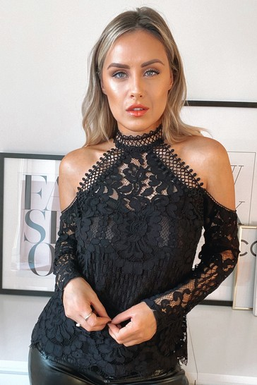 Lipsy VIP Black Lace Cold Shoulder Top
