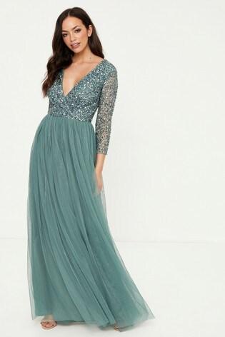 Maya Embellished 3/4 Sleeve Wrap Maxi Dress