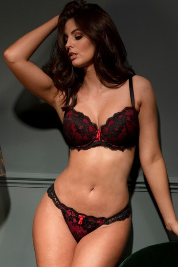 Pour Moi Black and Red Amour Padded Bra E+