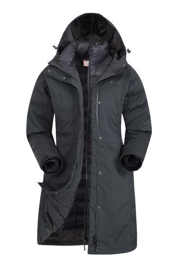 Mountain Warehouse Black Alaskan Womens 3 In 1 Long Jacket