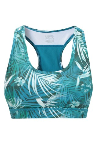 Mountain Warehouse Blue Floral Mesh Motion Sports Bra