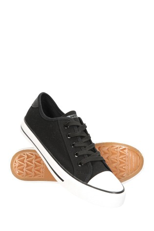 Mountain Warehouse Black Womens Canvas Plimsoll Trainers