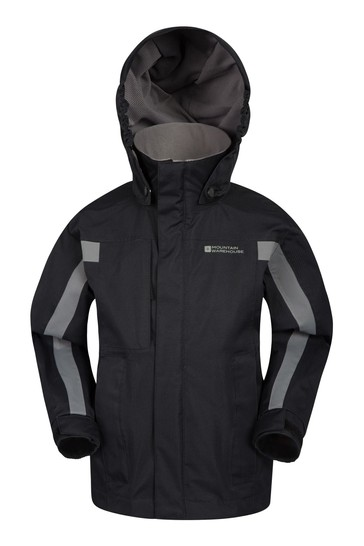 Mountain Warehouse Black Samson Kids Waterproof Jacket