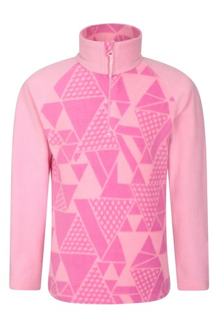Mountain Warehouse Pink Geo Endeavour Kids Printed Fleece
