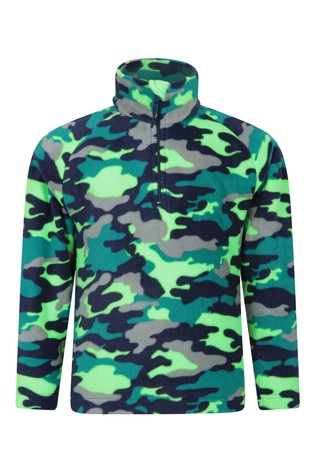 Mountain Warehouse Green Pursuit Kids Printed Fleece
