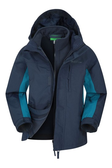 Mountain Warehouse Blue Cannonball 3 In 1 Kids Waterproof Jacket