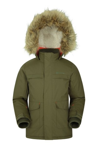 Mountain Warehouse Khaki Samuel Kids Water-Resistant Parka Jacket