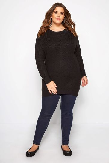 Yours Curve Directional Crew Neck Jumper