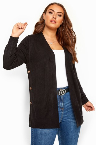 Yours Black Curve Side Button Cardigan