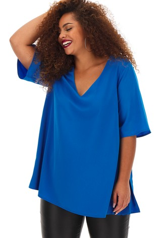 Simply Be Pleated Side V neck Blouse
