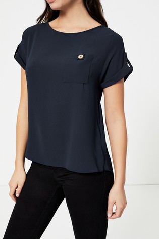 Dorothy Perkins Navy Button Pocket Tee