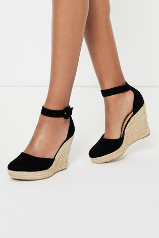 Lipsy Black Covered Buckle Wedge