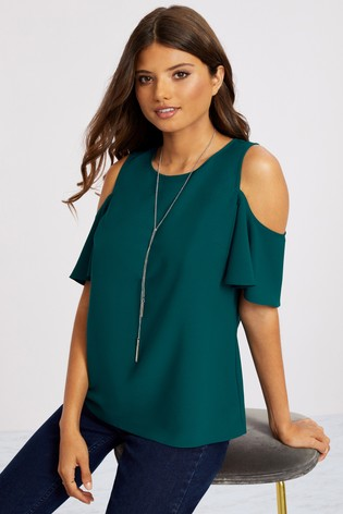 Lipsy Green Cold Shoulder Necklace Top
