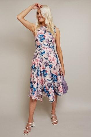 Little Mistress Pink Cabot Ballet Floral Print Hanky Hem Midi Dress