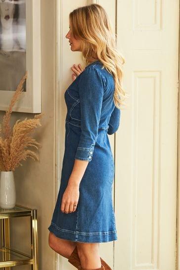 Sosandar Indigo Zip Front Collarless Denim Dress