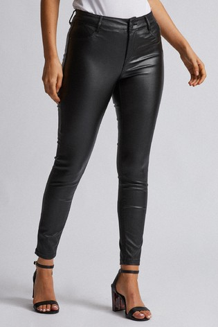 Dorothy Perkins Black Coated Petite Skinny Coated Jeans