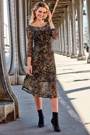 Sosandar Black and Gold Bardot Mesh Midi Dress