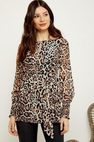 Sosandar Leopard Printed Tie Front Top