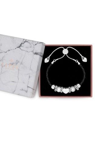 Lipsy Jewellery Silver Gift Charm Bracelet With Plait Strap