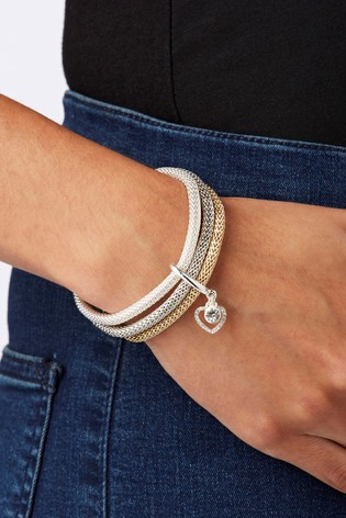 Lipsy Jewellery Clear Crystal 3 Pack Of Mesh Stretch Bracelets