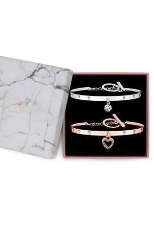 Lipsy Jewellery Silver 2 Pack Of Charm Cuff Bracelets