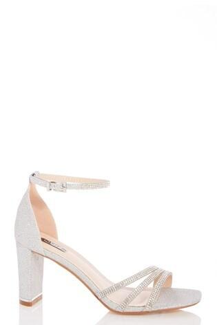 Quiz Silver Shimmer Triple Diamante Block Heel Sandals